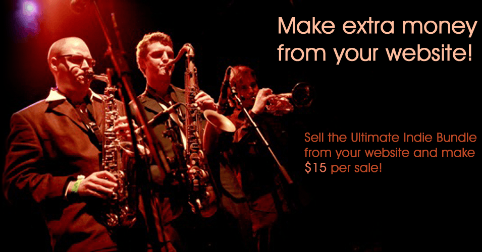 this image of a jazz band live on stage is the header for the indie bible music promotion affiliate signup page