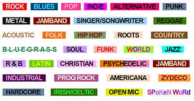 the indie venue bible has easy to identify genre tags